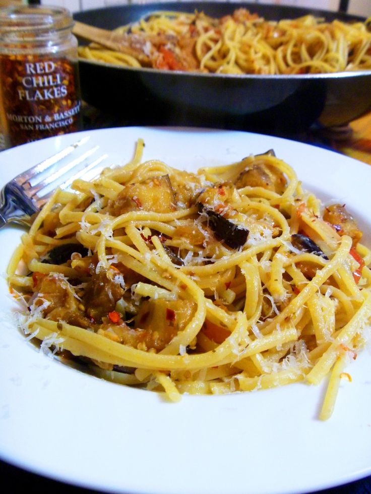 Delicious Spicy Eggplant Pasta - Tried and true!  I made a few adjustments like adding a tad more bacon, cutting down on the red pepper flakes and adding more tomatoes. This recipe was so fantastic that my hubby went back for seconds (not a usual thing when I cook with so many veggies)
