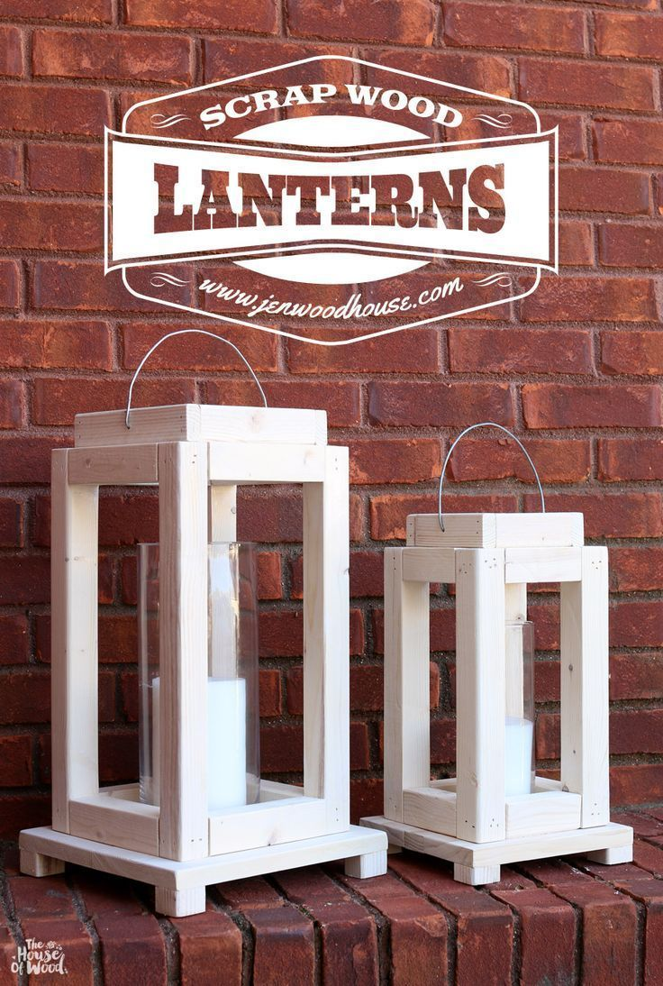 How to build DIY rustic lanterns out of scrap wood via Jen Woodhouse…