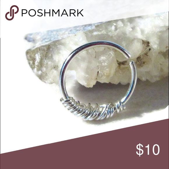 Sterling Silver Tangled hoop for piercings A single 925 Sterling silver Piercing…