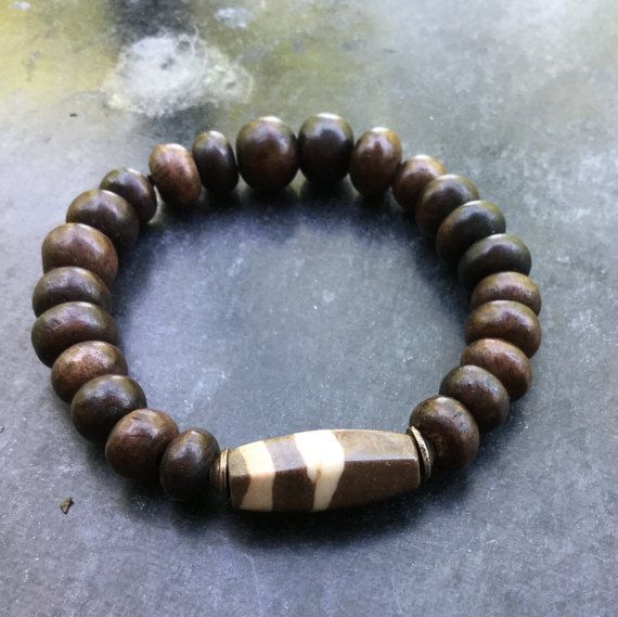 30% OFF for the first 20 Unisex bracelet – Stretch bracelet –Zebra African agate + Exotic wood beads – Rustic bracelet.