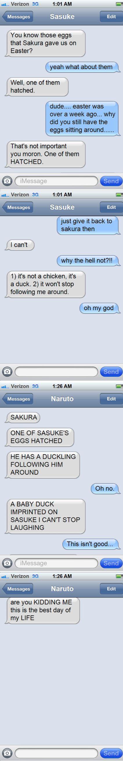 <3 Naruto, Sasuke & Sakura  Makes sense naruto called saskue's hair duck but hair lol and the duck thinks saskue's it's mother lol I love dis credits to the person who made it