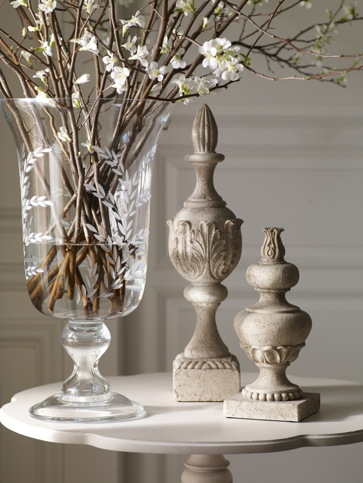 Flowering Quince Branches In A Beautiful Etched Vase