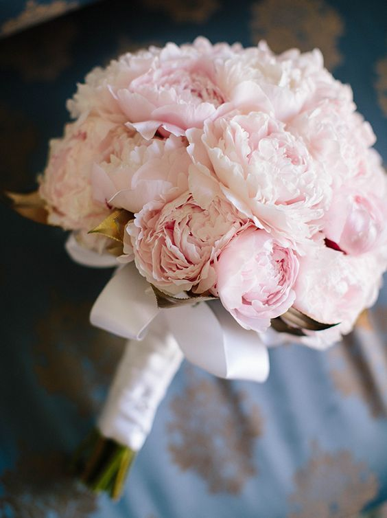 Elegant pink peonies wedding bouquet; Featured Photographer: Crispin Cannon Photography