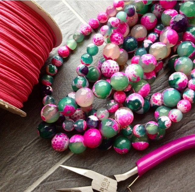 Green and Fuschia Agate - perfect to brighten up your day! www.beadhouse.co.uk