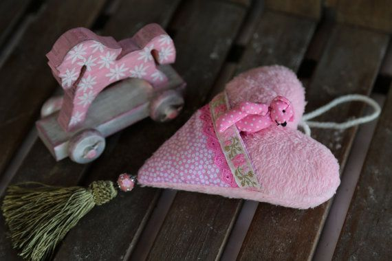 Pink fabric heart with pocket and smallest plush by donidinadya