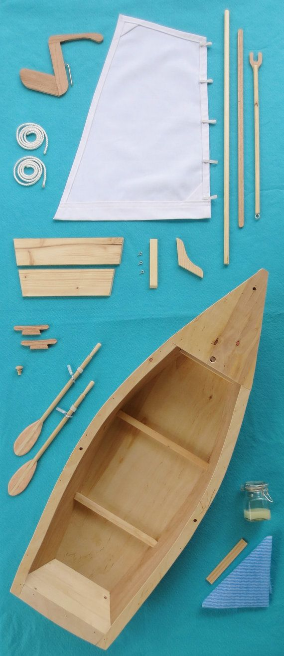 $99 DOLL BOAT KIT - Wood Skiff Sailboat Model Kit, for American Girl, 18 Inch Dolls with Hand-Carved Oars, Canvas Sail and Lines