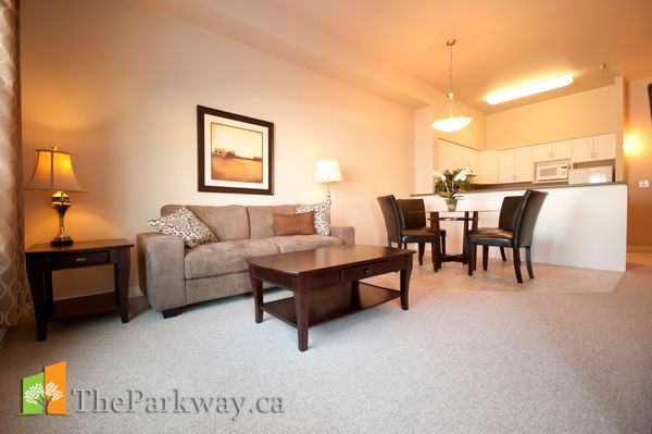 Your Parkwayhome comes bathed in natural light from large windows.Your suite also features a private balcony and in-suite washer & dryer. With modern, energy-efficient appliances, your open kitchen makes entertaining a pleasure.