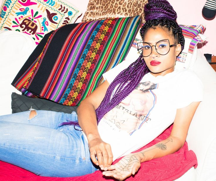 Margeaux Simms Talks Fashion, Music, and Breaking Stereotypes: We chatted with Simms, the self-proclaimed provocative visual entrepreneur, and this girl is the physical embodiment of the word hustle. -- Striped colorful blanket and blue denim | coveteur.com