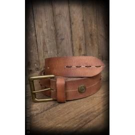 Leather belt with fancy stitch beige