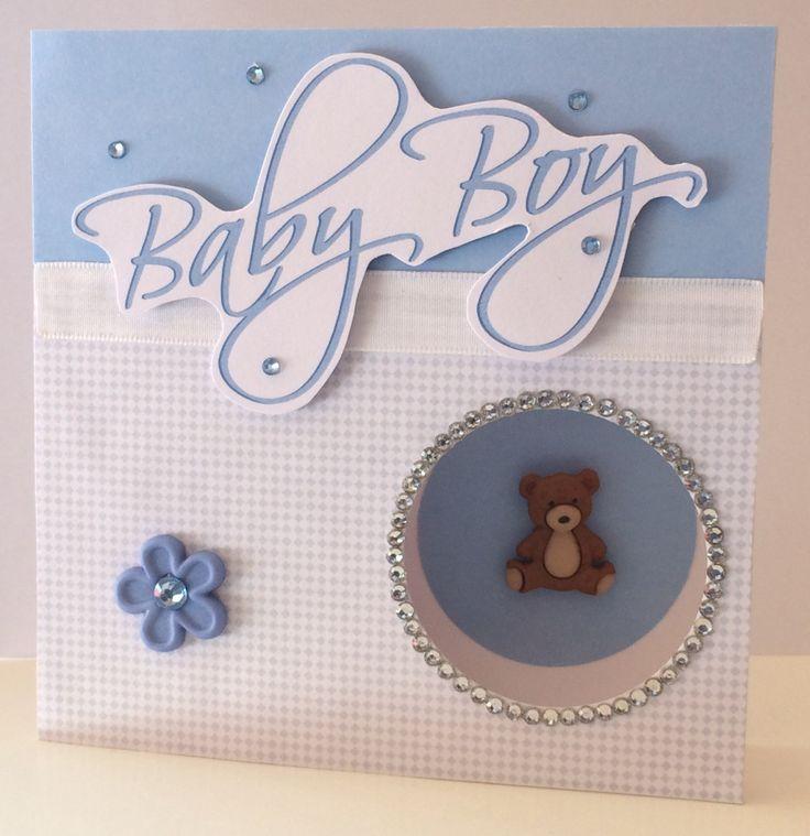 Baby Boy Teddy Bear Diamanté Card by CatkinsCrafts on Etsy