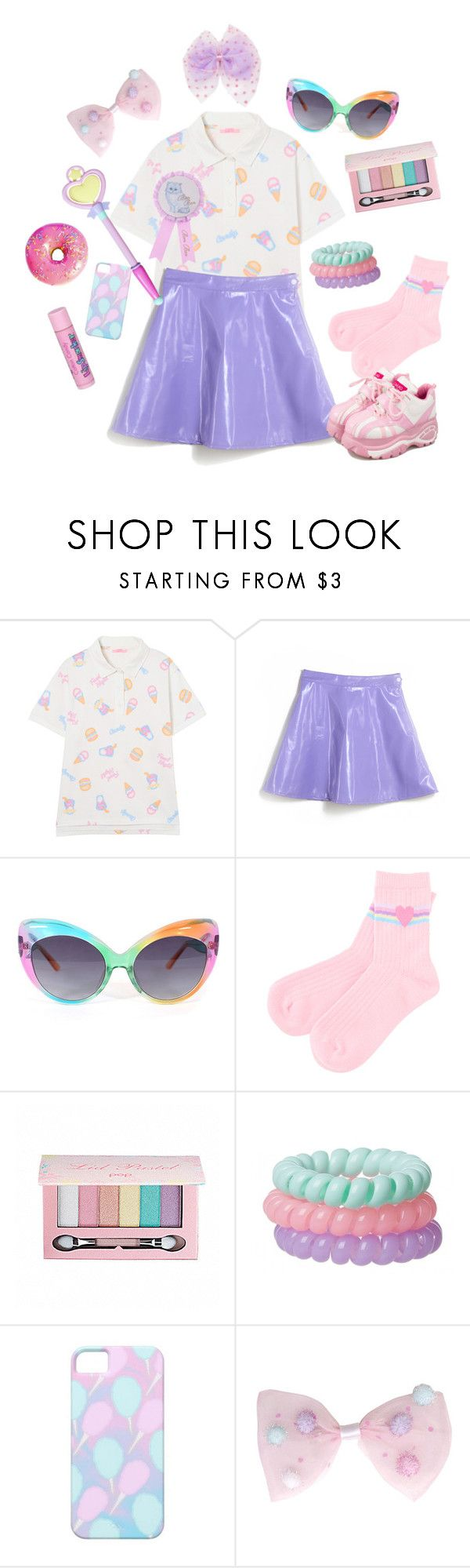 """Party kei~☆"" by sweetpasteldream ❤ liked on Polyvore featuring UNIF, Pop Beauty and Cotton Candy"