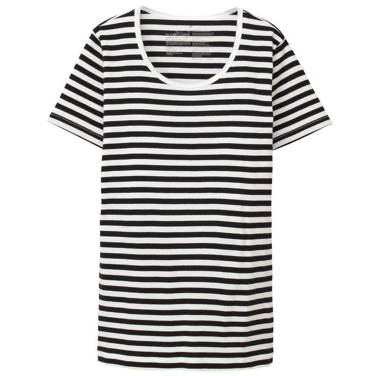 オーガニックコットンフライス編みクルーネック半袖Tシャツ(ボーダー)