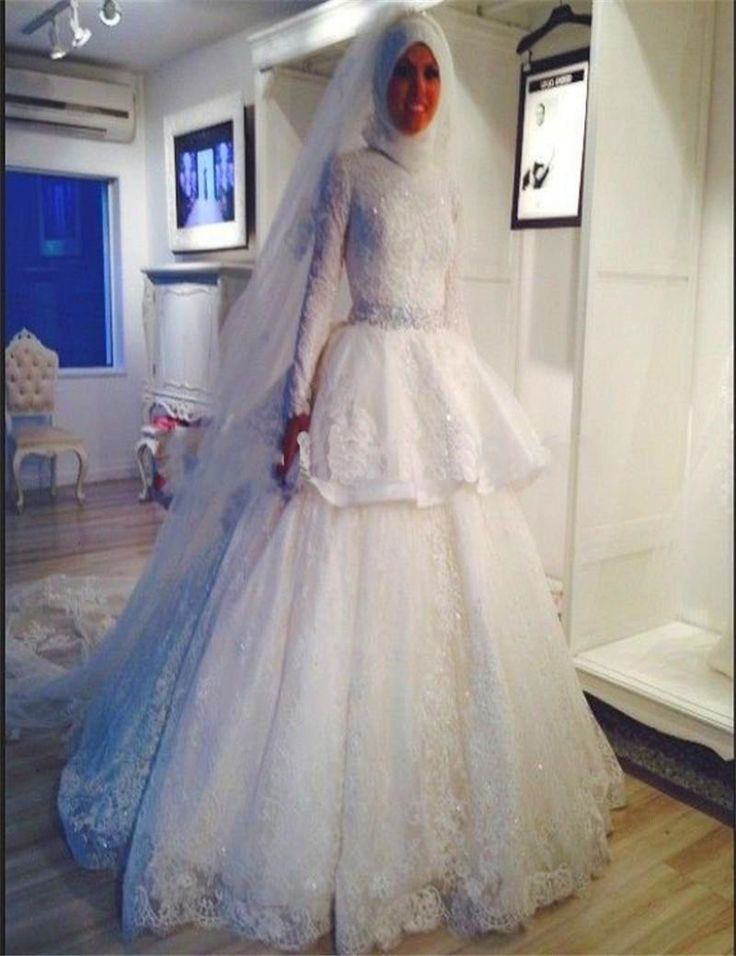 ==> [Free Shipping] Buy Best Vestidos De Novia 2016 High Neck Long Sleeves Beaded waist Muslim Wedding Dresses 2016 Arabic Wedding Gown Cheap A line Bridals Online with LOWEST Price | 32576452341