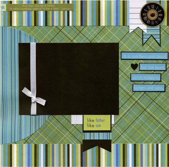 Page was created using coordinating printed papers, cardstock, ribbon, father/son quotes, clock die cut, round brad, and title journaling strips. Ribbon is attached in a manner that allows you to easily slip photo underneath. Journaling strips read:  It is not flesh and blood, but the heart which makes us fathers and sons.  This 12x12 scrapbook page is handmade and ready for your scrapbook...just add photo. Not a scrapper? Frame this artwork for wall decor and/or a unique gift! Designer is…