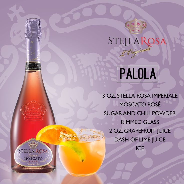 Stella Rosa Wines original cocktail recipe: Palola. -- Combine ice, 3 oz. Stella Rosa Imperiale Moscato Rosé, 2 oz. grapefruit juice, dash of lime juice. Serve in a sugar and chili powder rimmed glass. Garnish with a grapefruit wedge.