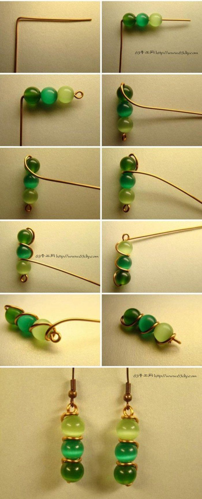 Green Bead Earrings...♥ Deniz ♥