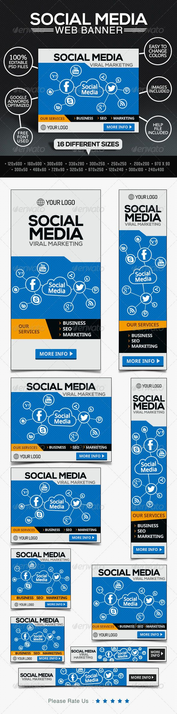 Social Media Marketing Company Banners Template PSD   Buy and Download: http://graphicriver.net/item/social-media-marketing-company-banners/7801162?WT.ac=category_thumb&WT.z_author=BannerDesignCo&ref=ksioks