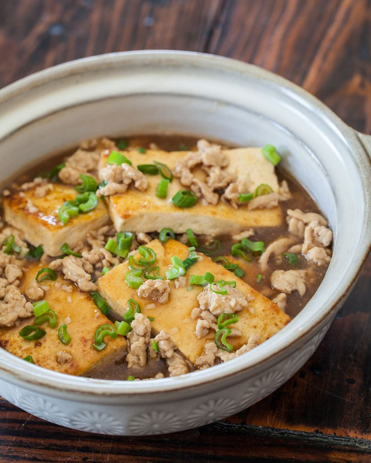 Chinese Braised Tofu with Ground Pork Recipe - Not a huge fan of tofu but this looks good