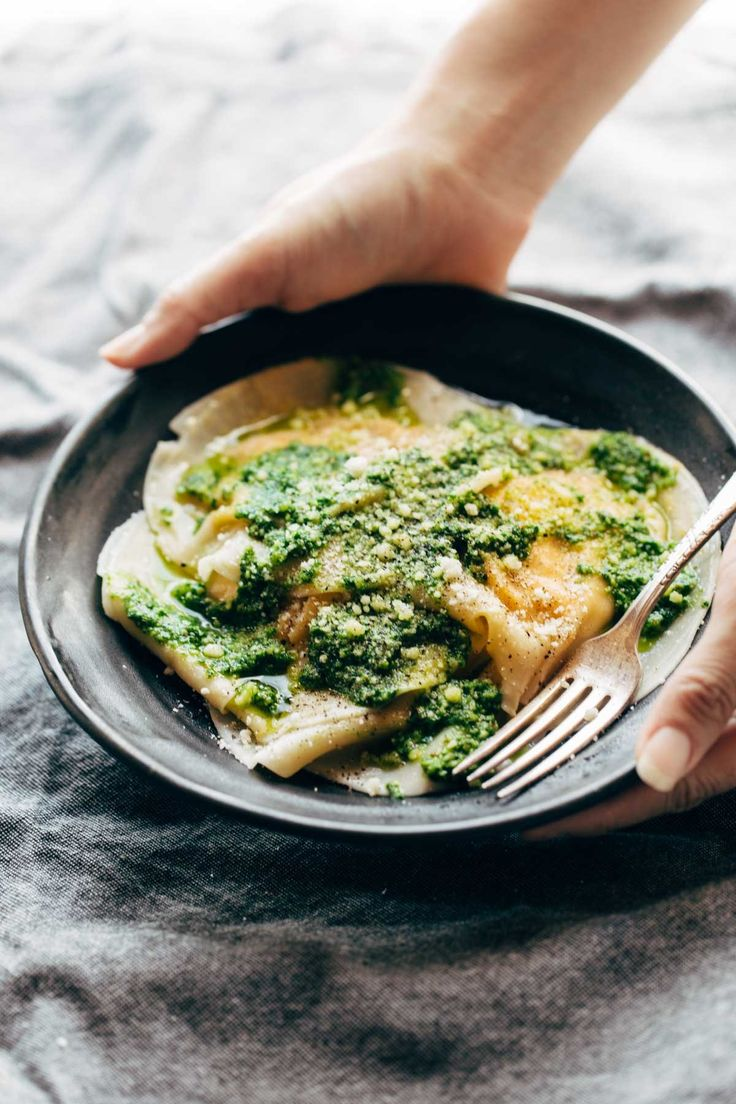 Jumbo Butternut Squash Ravioli with Kale Pesto