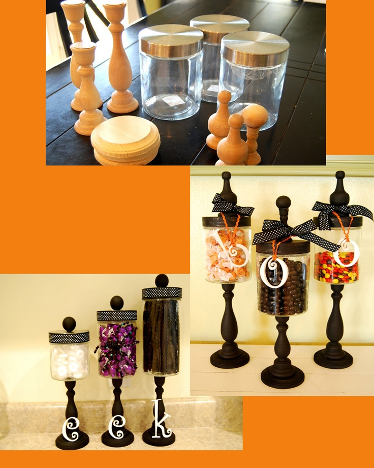 candlesticks - Michaels, 2.99 each round base - any craft store, .50 letters - Hobby Lobby, .99 each Glass Jar - Hobby Lobby, 2.99 each Finial - .99 each or knob - bag full for 2 dollars or so at any ol' craft store ribbon - any craft store, about 2 dollars paint - my paint bin, free I used hot glue for all parts excepts to adhere the glass onto the candle stick and then I used super glue GEL.