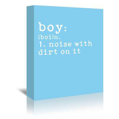 "East Urban Home 'Boy Definition Blue' by Indigo Sage Textual Art on Wrapped Canvas Size: 48"" H x 32"" W x 1.5"" D"