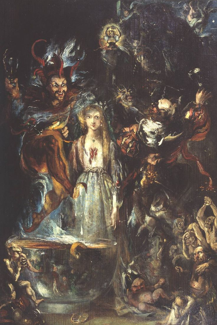 """Fantasy Based on Goethe's 'Faust'"" (1834), by Theodor von Holst (1810-1844), the daemonic figure to the left is perhaps identifiable as Faust's companion, Mephistopheles, an agent of Hell, perhaps participating in the witches' Sabbath during Walpurgis Night."