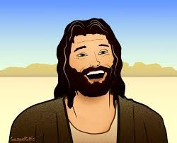 Jesus is portrayed as a happy and humble man