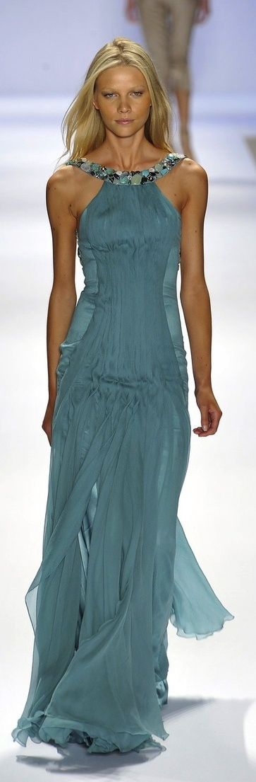 Carlos Miele ~ dusty, grey-blue halter gown with a brilliant embellishment at the collar bone!!!