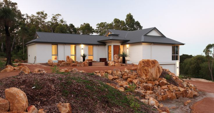 Country style home with a view, James Hardie Cladding, stone landscaping, natural landscaping, rural home