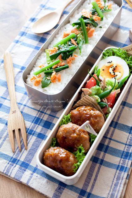 ・竹の子と豚ひき肉の中華肉団子 ・春野菜とトマトのツナサラダ ・ゆで卵(黒ごま、マヨネーズ) ・鮭フレークとほうれん草の乗っけご飯