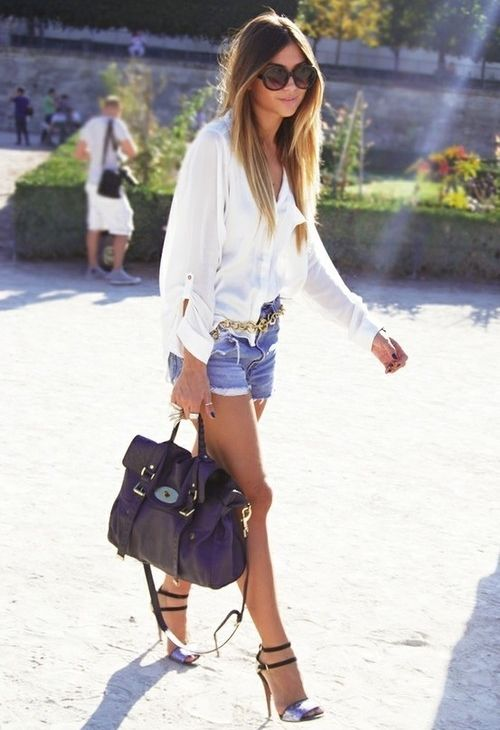jean shorts and blouse