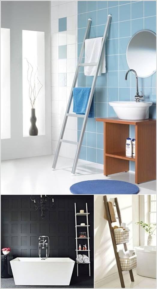 Handdoekrek  DIY  home  Pinterest~ Ladder Badkamer Ikea