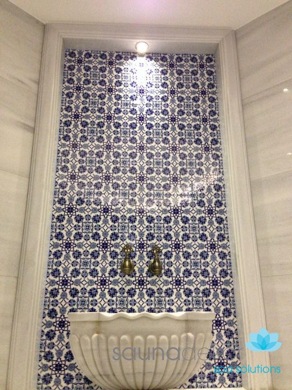 Special hand made tiles for the turkish bath  Hand made basin  Special basin taps  Turkish Hammam
