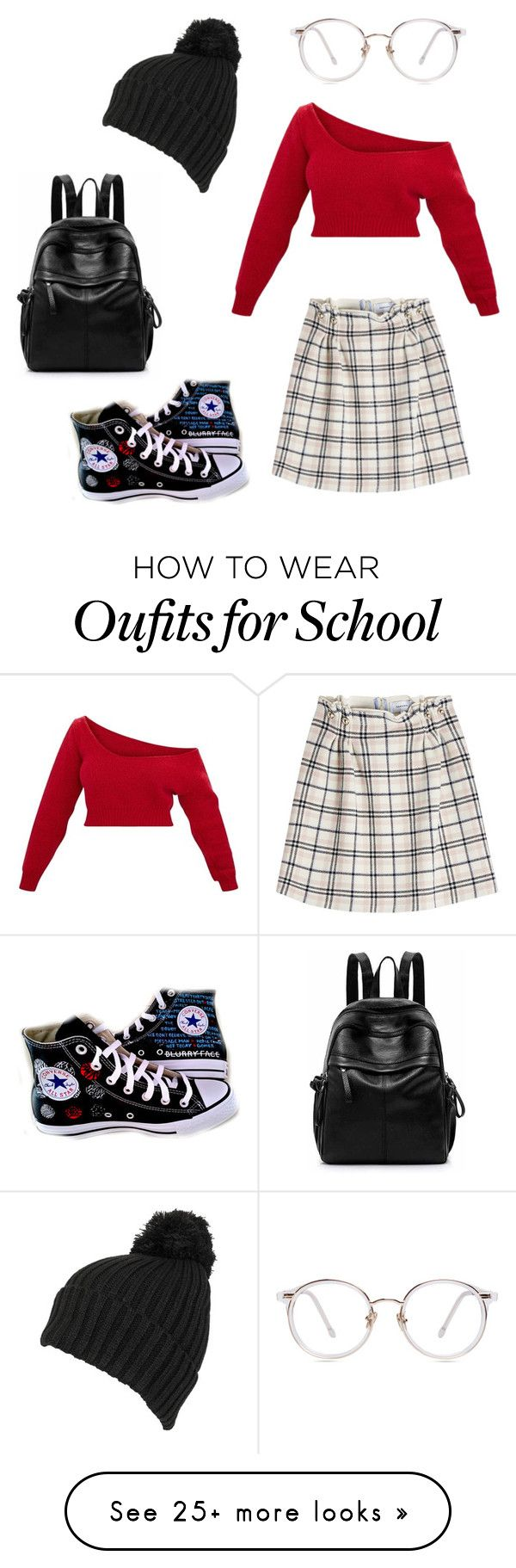 """""""School"""" by charzy-yo on Polyvore featuring Carven, Converse and Wilsons Leather"""