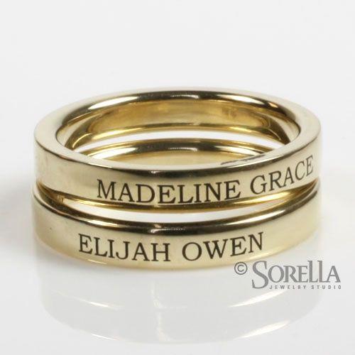 Stackable Engraved Birthstone Rings