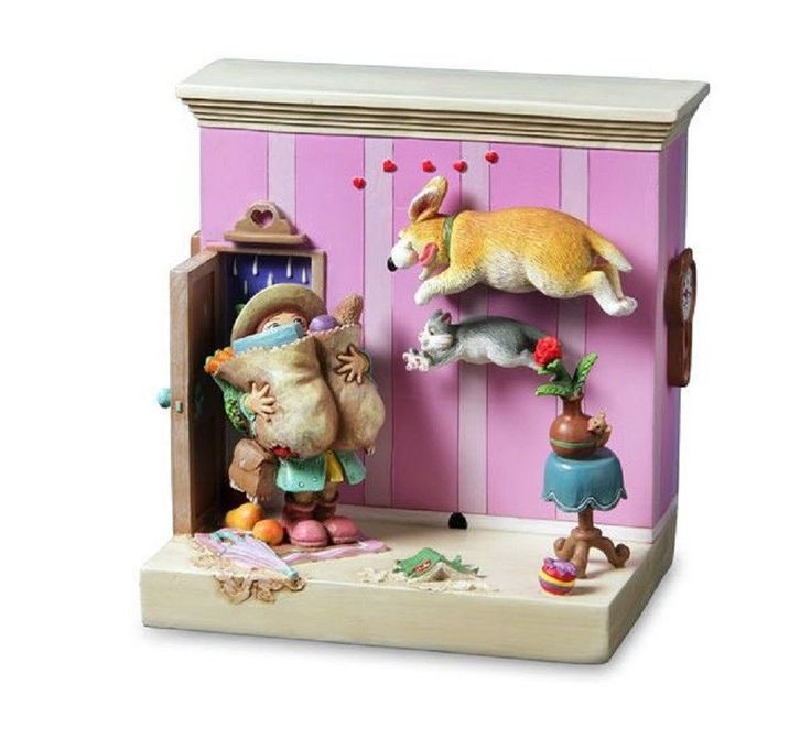 Welcome Home Dog Cat Figurine Gary Patterson San Francisco Music Box Co | eBay