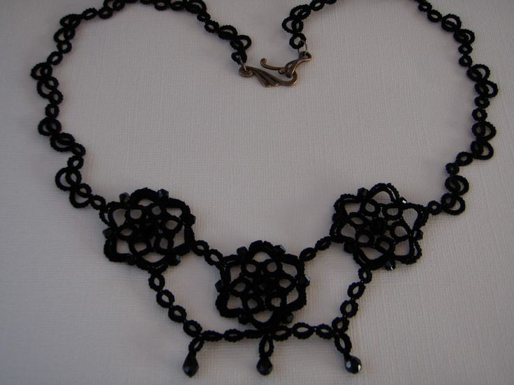 Victorian Gothic Style Necklace with Czech Black Glass Beads Tatted Jewellery by tattingblackkitty on Etsy