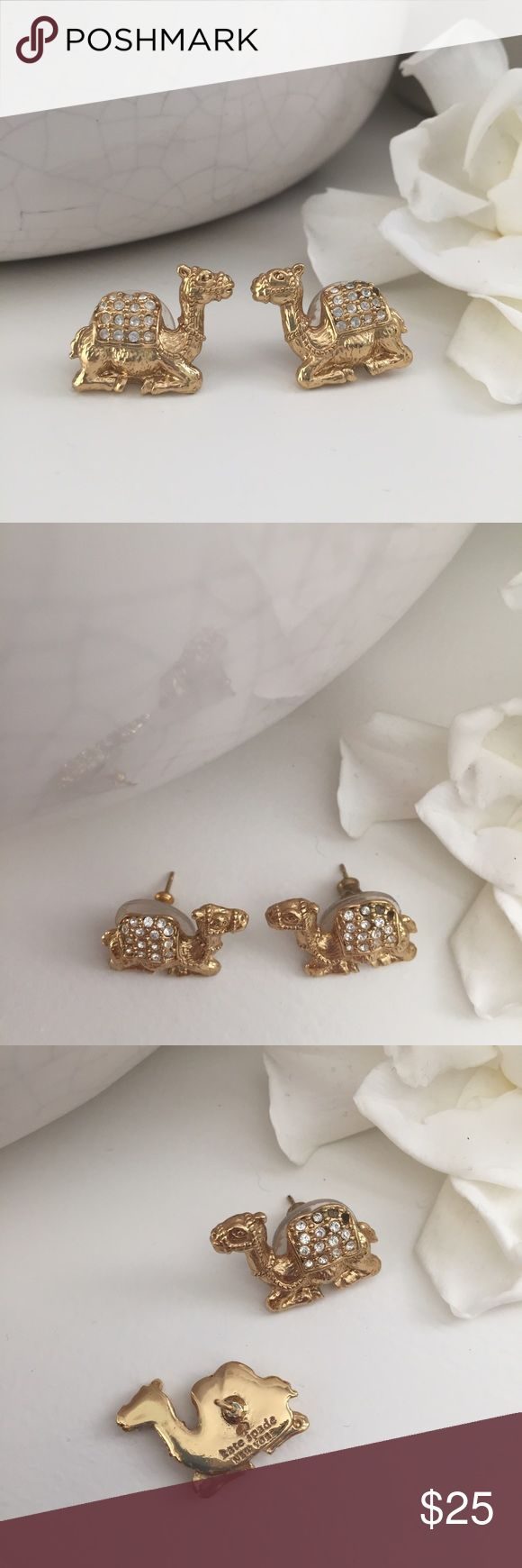 Kate Spade Camel Earrings Sweet Kate Spade camel earrings! Gold with crystal gems. Absolutely adorable! In excellent condition; no flaws. Post back. kate spade Jewelry Earrings