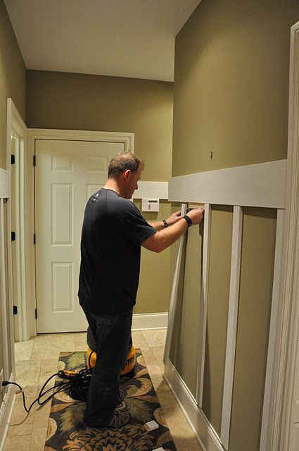 *Board and Batten tutorial. Will do this around kitchen peninsula and maybe entryway. Great for covering up little fingerprints.