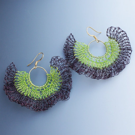 Crocheted Wire Bolero Earrings In Chartreuse and Purple by Aliona K
