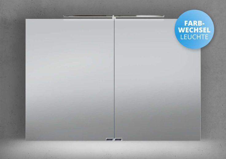 Spiegelschrank 100 cm LED Beleuchtung mit Farbwechsel doppelseitig verspiegelt Jetzt bestellen unter: https://moebel.ladendirekt.de/bad/badmoebel/spiegelschraenke/?uid=63080601-d31d-5efd-84df-d980929420c3&utm_source=pinterest&utm_medium=pin&utm_campaign=boards #spiegelschraenke #spiegelschränke #bad #badmoebel