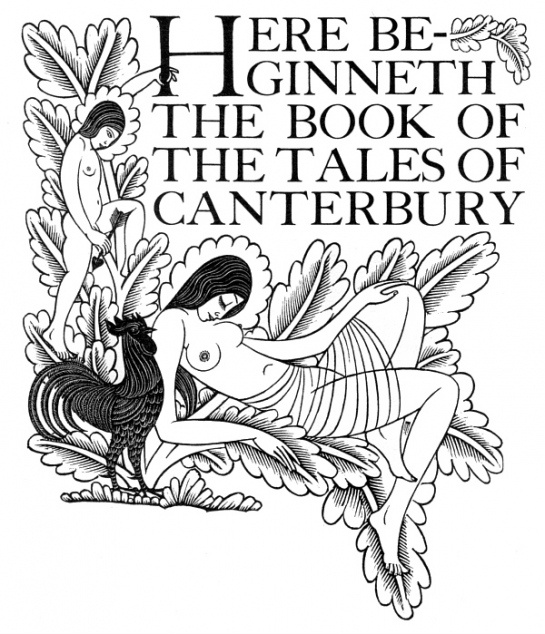 title page of the Golden Cockerel edition of the Canterbury Tales (produced by Eric Gill), 1931