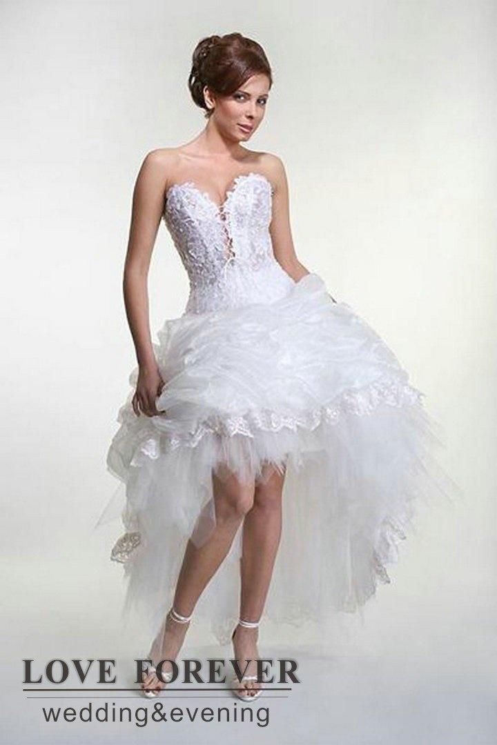 organza pizzo bianco abito da ballo vendita calda abito da sposa corto davanti lungo dietro