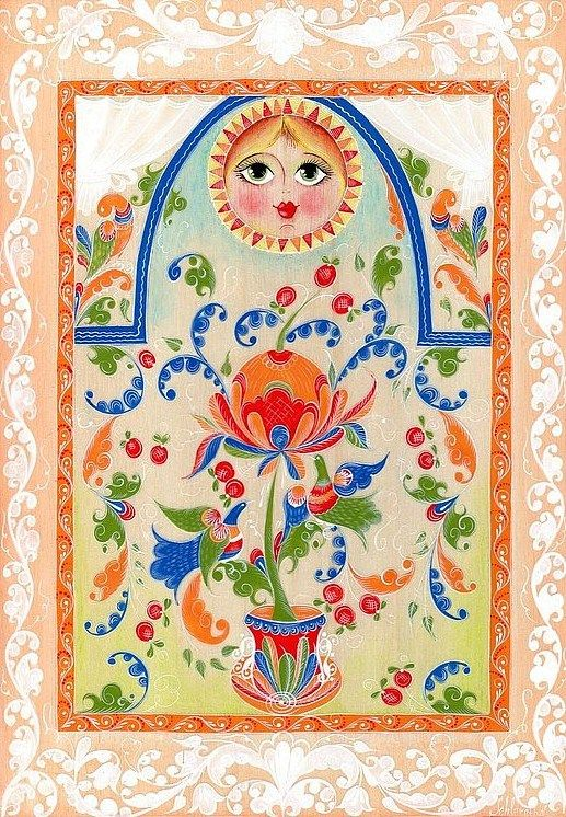 Folk Boretsk painting from Northern Russia. A floral pattern with birds and the sun