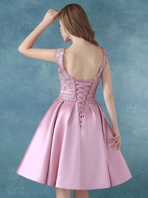SUMINISTROS Dresswe.comCorreas elegante Bowknot vestido rodilla vestido de Cóctel de encaje vestidos de cóctel 2016 (2)