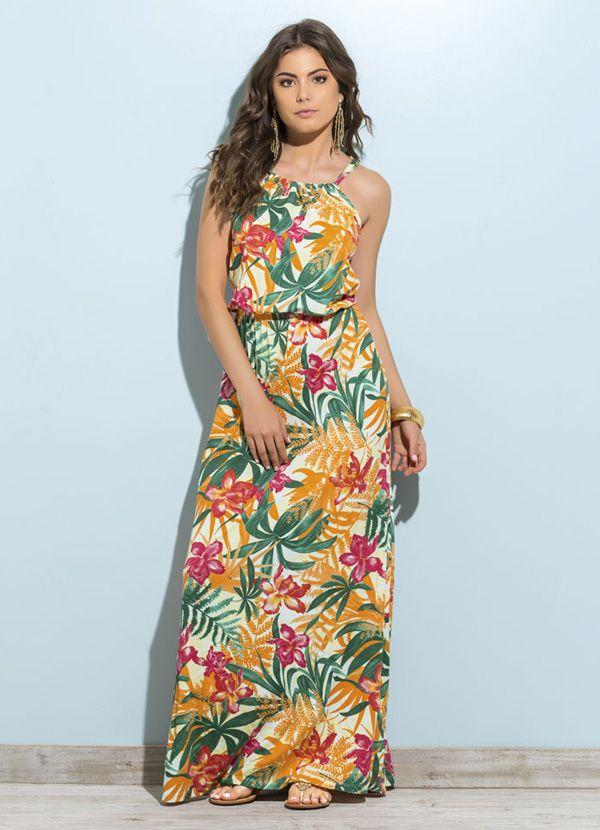 Vestido Longo Estampa Tropical                                                                                                                                                                                 Mais