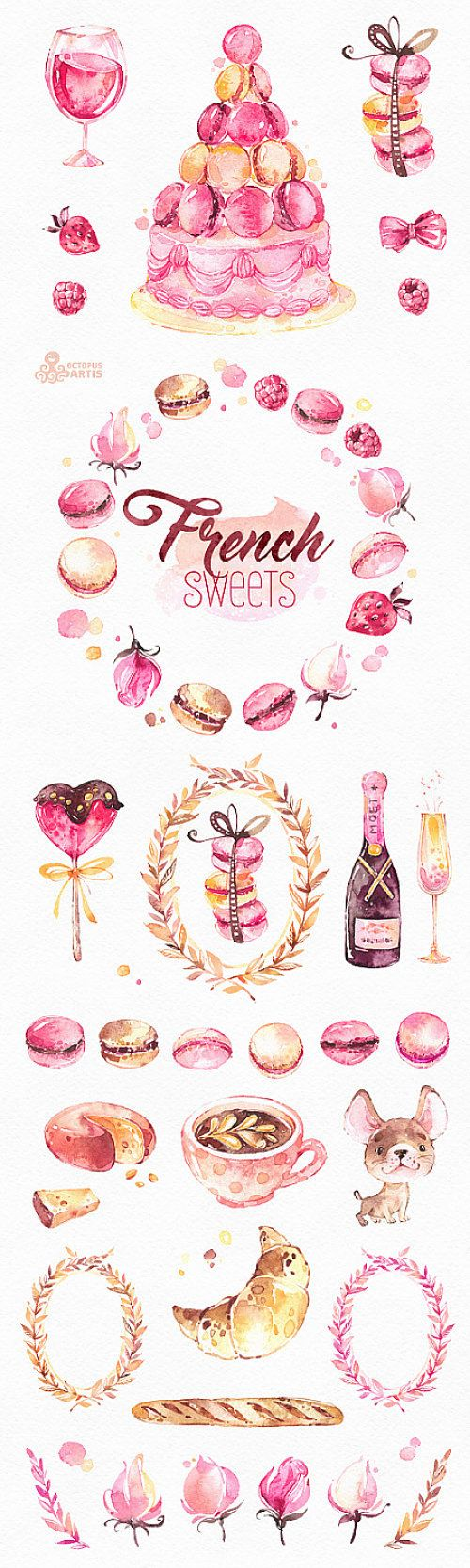 This is an french collection of sweets includes 40 handpainted watercolor images. Perfect graphic for diy projects, brand identity, invitations, cards, logos, photos, posters, wallarts, quotes, diy and more.  -----------------------------------------------------------------  INSTANT DOWNLOAD Once payment is cleared, you can download your files directly from your Etsy account.  -----------------------------------------------------------------  This listing includes:  40 x Different Graphic…
