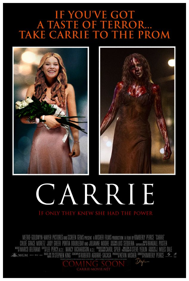 Carrie Poster 2013 1976 Style Carrie White American Horror Movie Stephen King Movies