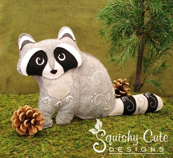 Looking for your next project? You're going to love Felt Raccoon Stuffed Animal Plushie by designer Squishy-Cute Designs.