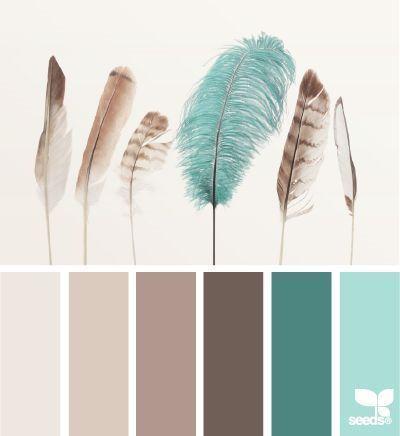 Gefiederte türkisfarbene, braune, beige Farbpalette von Design Seeds …
